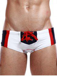 Lace Up Color Block Panel Stretchy Swimming Trunks
