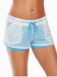 Layer Sports Drawstring Running Shorts - AZURE L