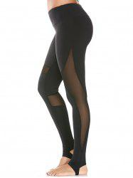 Mesh Panel Yoga High Waist Stirrup Leggings - BLACK