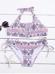 Halter Tribal Print Lace Up Bikini Set