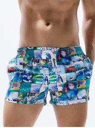 3D Graphic Print Drawstring Straight Leg Board Shorts
