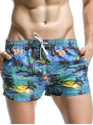 Coconut Tree Print Hawaiian Drawstring Board Shorts