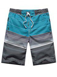 Ombre Striped Color Block Panel Drawstring Board Shorts