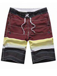 Drawstring Color Block Striped Panel Board Shorts