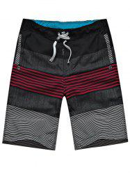 Drawstring Striped Color Block Panel Board Shorts
