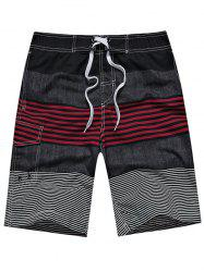 Color Block Stripe Panel Drawstring Straight Leg Board Shorts