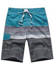 Color Block Ombre Stripe Panel Drawstring Board Shorts