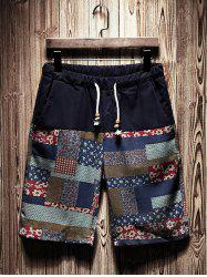 Tribal Patchwork Printed Drawstring Shorts