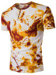 Cotton Linen Chinese Style Short Sleeve Tie Dye T-Shirt