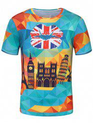 3D Geometric Building Lip Print Patriotic T-Shirt