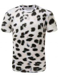 3D Leopard Print Short Sleeve Cotton Blends T-Shirt