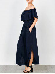 Off Shoulder Long Flounce Slit Formal Dress - PURPLISH BLUE