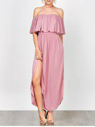 Off Shoulder Long Flounce Slit Formal Dress - PINK M