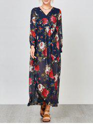 Long Sleeve High Waist Floral Maxi Dress