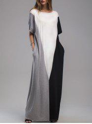 Dolman Sleeve Contrast Panel Maxi Dress