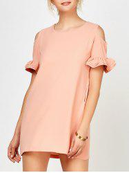 Round Neck Ruffle Cold Shoulder Mini Dress - PINK