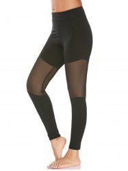 Semi Sheer High Waisted Mesh Workout Leggings - BLACK