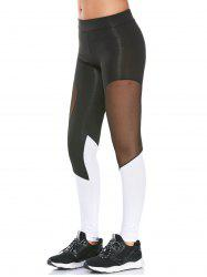 Colorblock Semi Sheer Mesh Panel Workout Leggings - BLACK