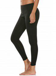 High Waist Ankle Length Compression Leggings - BLACK