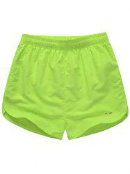Embroidered Mesh Lining Drawstring Board Shorts - FLUORESCENT YELLOW