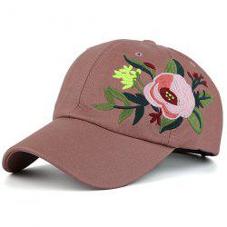 Blooming Flower Embroidery Sunproof Baseball Hat - PEONY PINK