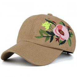 Blooming Flower Embroidery Sunproof Baseball Hat