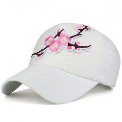 Flowering Branch Embroidered Baseball Cap - WHITE