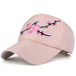 Flowering Branch Embroidered Baseball Cap - PINK