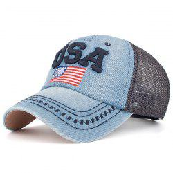 Mesh Spliced USA Flag Embroidery Baseball Cap - CADETBLUE