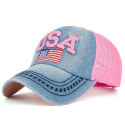 Mesh Spliced USA Flag Embroidery Baseball Cap - PINK