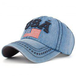 USA Flag Embroidered Baseball Cap - CADETBLUE