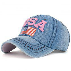 USA Flag Embroidered Baseball Cap - PINK