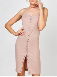 Button Up Bodycon Slip Dress