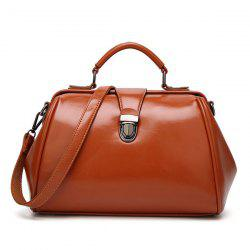 Push Lock Faux Leather Handbag - Brun