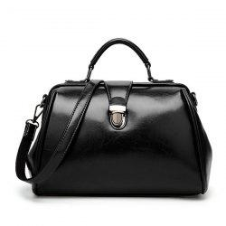 Push Lock Faux Leather Handbag - Noir