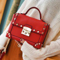 Top Handle Stud Chain Handbag