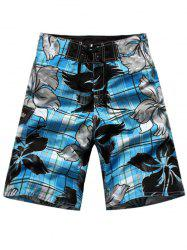 Floral and Plaid Print Drawstring Side Pocket Board Shorts