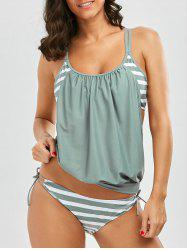 Cami Stripe Blouson Backless Tankini Swimsuits - LIGHT GREEN