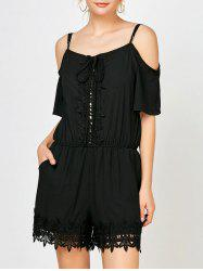 Lace Panel Cold Shoulder Romper with Pockets