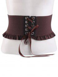 Pleated Lace Up Elastic Metal Circles Corset Belt - MOCHA