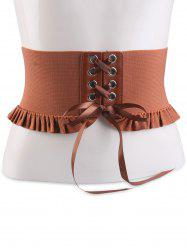 Pleated Lace Up Elastic Metal Circles Corset Belt - CHOCOLATE