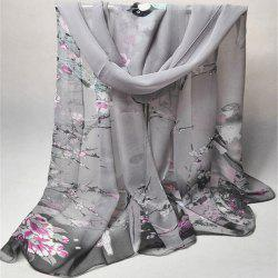 Chinoiserie Flowering Branch Bird Printing Shawl Scarf - GRAY