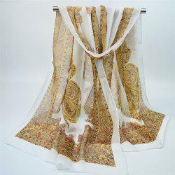 Chiffon Ethnic Anthemion Printing Shawl Scarf - OFF-WHITE
