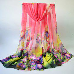 Chiffon Multicolor Blossom Printing Lightsome Gossamer Scarf - PINK