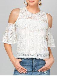 Bell Sleeve Lace Cold Shoulder Blouse