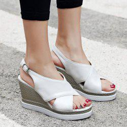 Wedge Heel Belt Buckle Sandals
