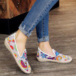 Mesh Flower Pattern Flat Shoes - WHITE