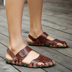 Faux Leather Studded Sandals - DARK AUBURN
