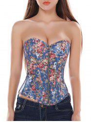 Lace-Up Strapless Floral Denim Corset Top - BLUE 2XL