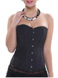 Striped Lace-Up Strapless Corset Top